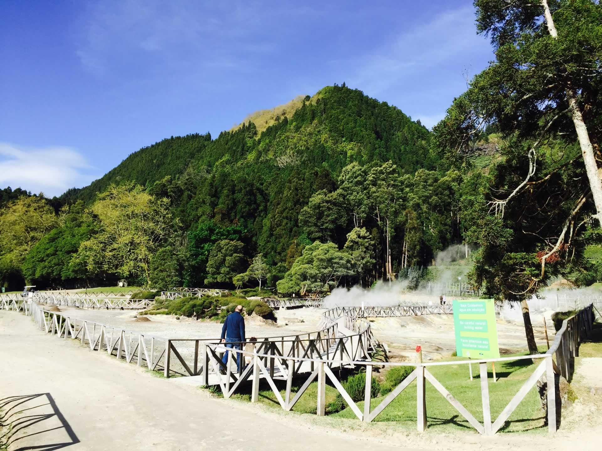 Activité géothermique à Fumarolas da Lagoa das Furnas, île de São Miguel